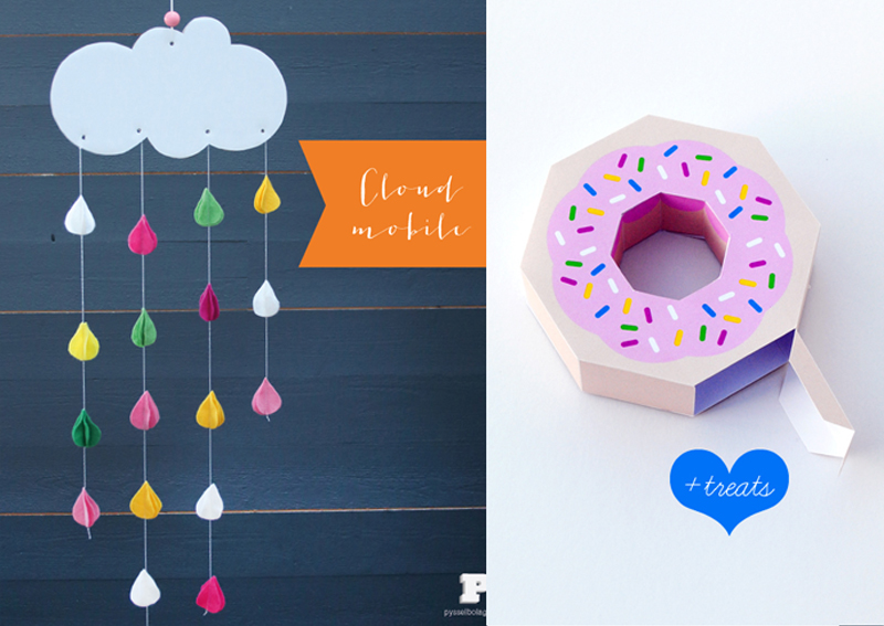 Cloud mobile, doughnut treat box