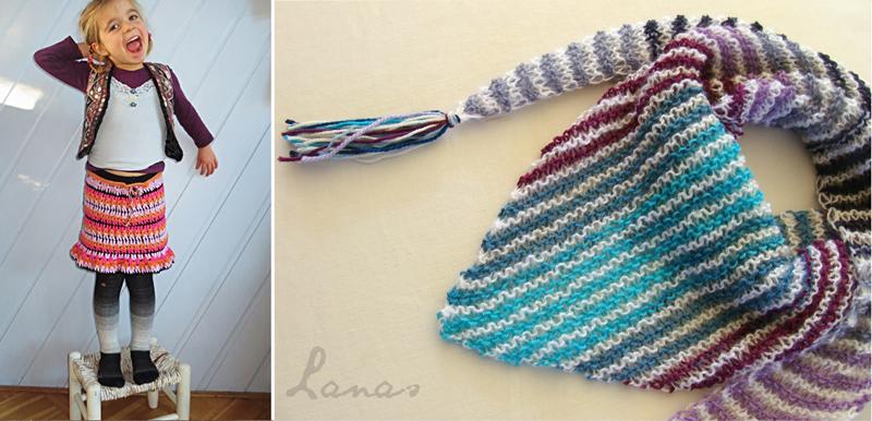Crocheted skirt, baktus scarf