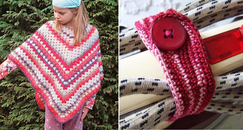 Crocheted granny poncho,iron strap