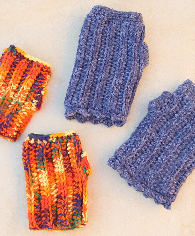 Crocheted Chunky Wrist Warmers child and adult