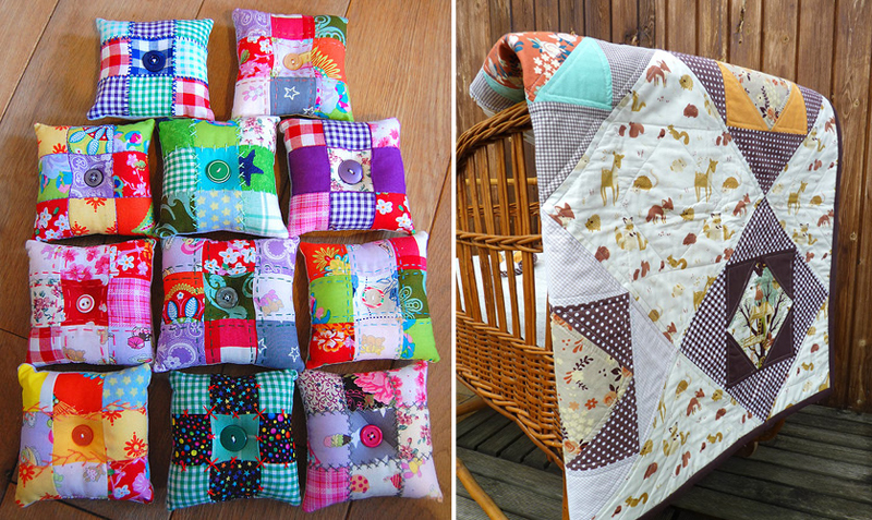 Quilted pin cushions, baby quilt
