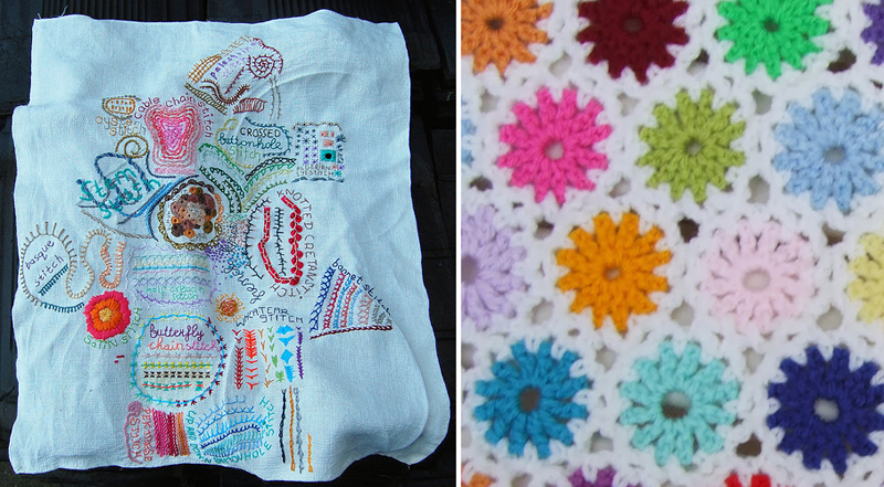 Embroidered stitch sampler, starry crocheted blanket