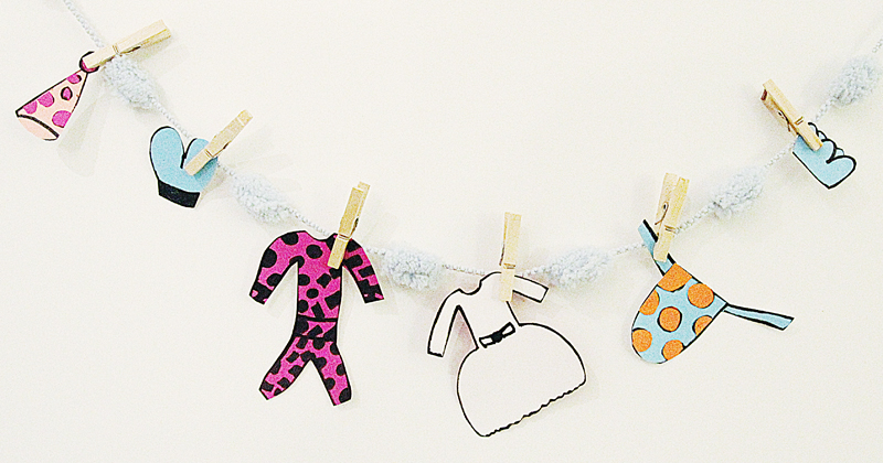 Purim Costume Clothesline craft for girls