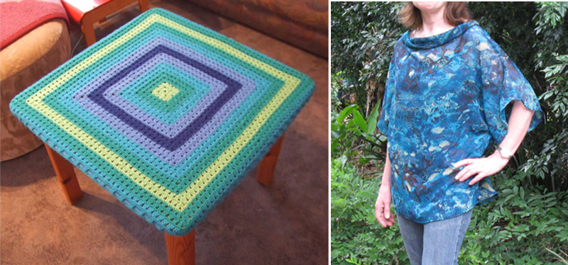 Crocheted granny square table cover,loose summer top to sew