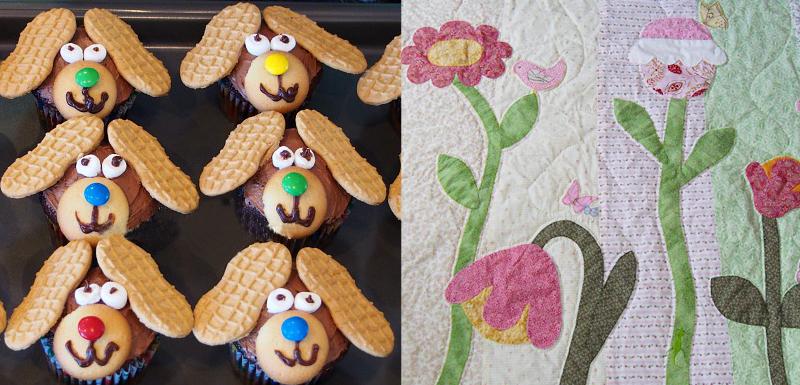 Puppy dog cupcakes,flower applique on quilt