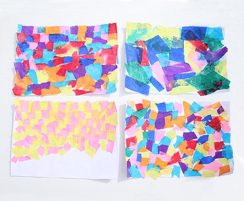 Tissue Paper Collage Craft For Purim