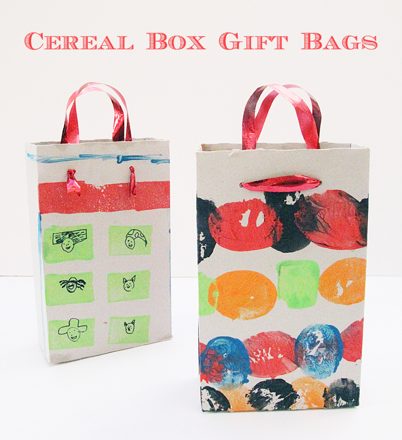 Cereal Box Gift Bags Stamped