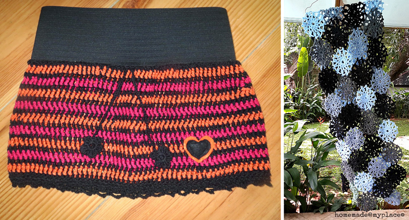 Crocheted toddler skirt, floral crocheted shawl