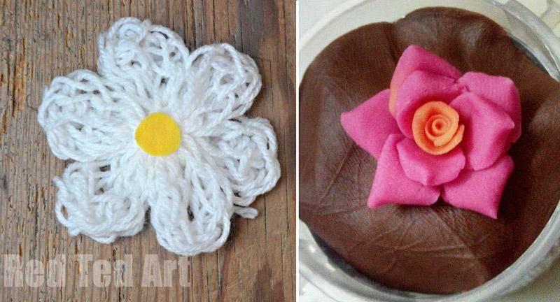 Finger knitting flower,dough flower how to
