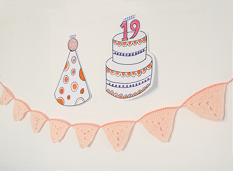 Crocheted Bunting Banner For Birthday