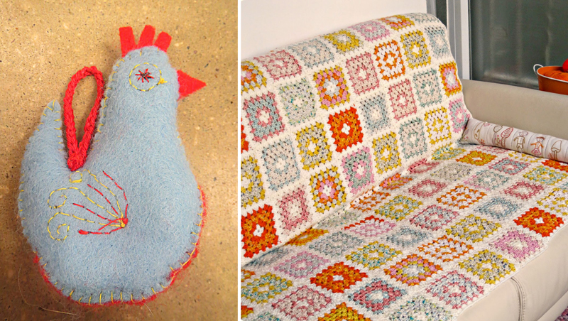 Felt chicken ornament,crocheted granny square blanket