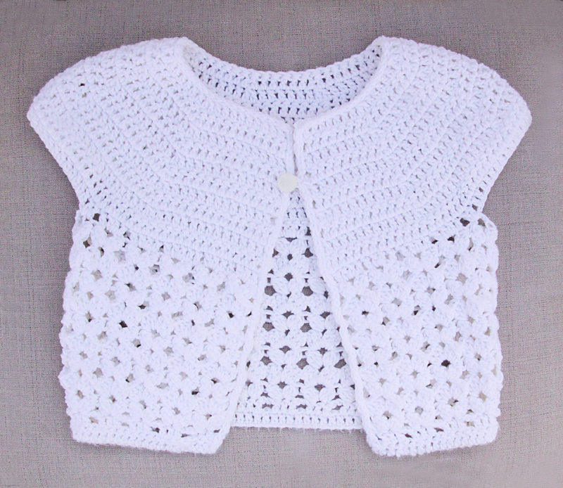 Crocheted cap Sleave sweater for girls