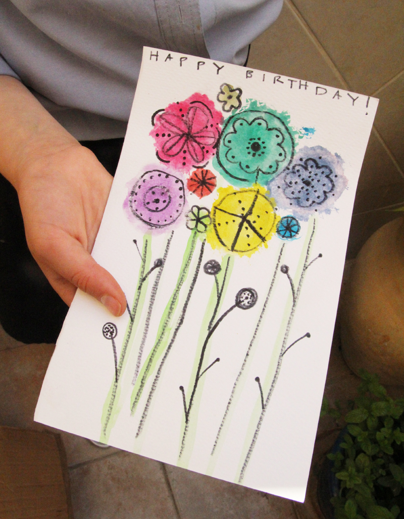 Watercolor flower paintings and a happy birthday to bubby watercolor and drawing craft birthday card izmirmasajfo
