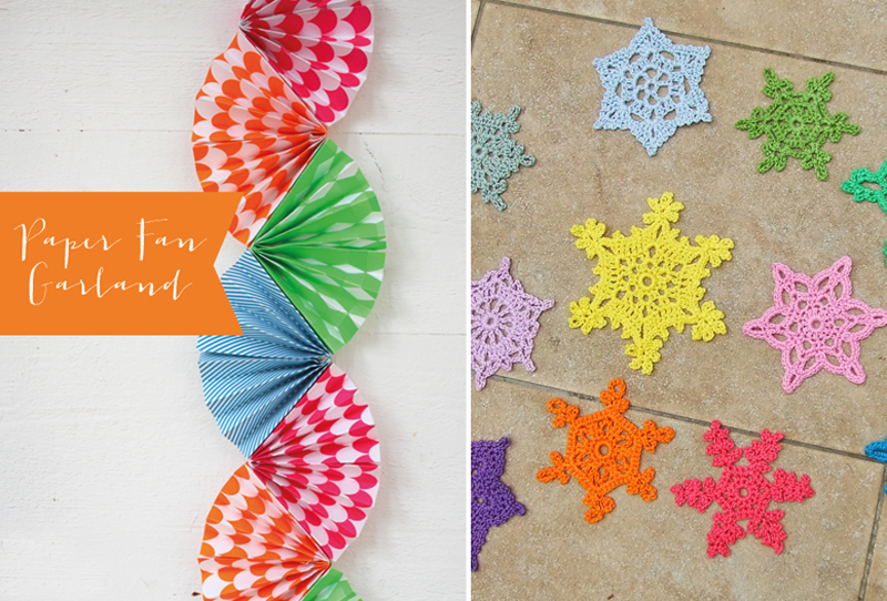Paper Fan Garland, crocheted summer snowflakes