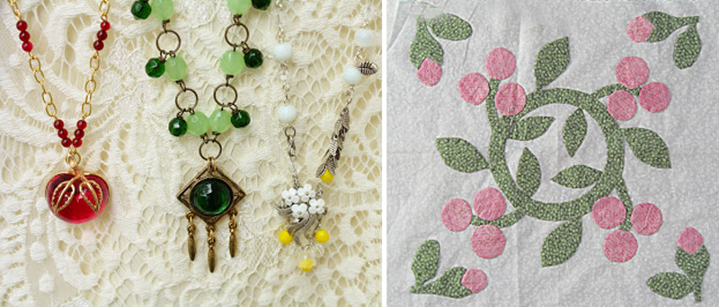 Necklaces from findings,quilt applique