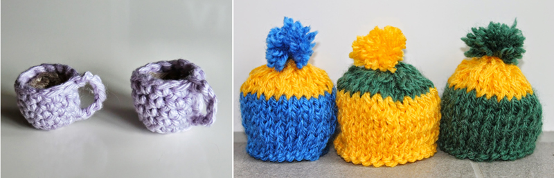 Tiny crocheted tea cups,tiny knit hats