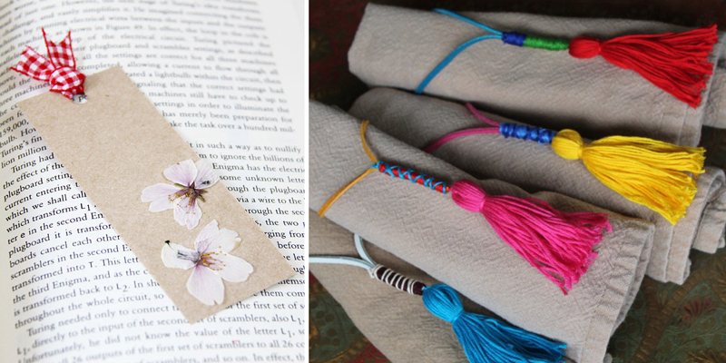 Pressed flower bookmark, tassel napkin rings