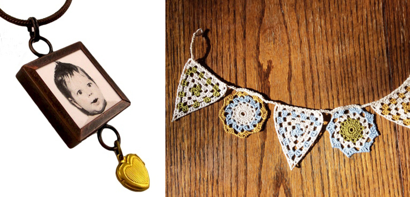 Photo jewelry tutorial,crocheted granny bunting
