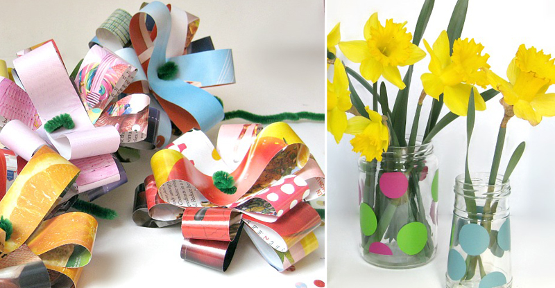 Magazine page flowers,upcycled jar vases
