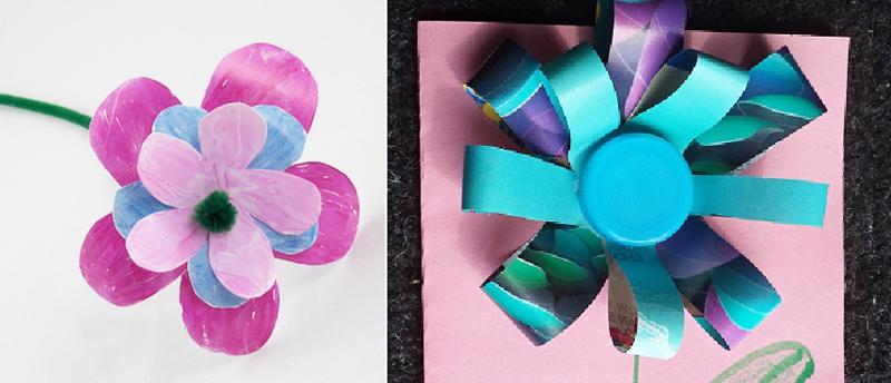 Plastic milk jug flower,bottle cap flower