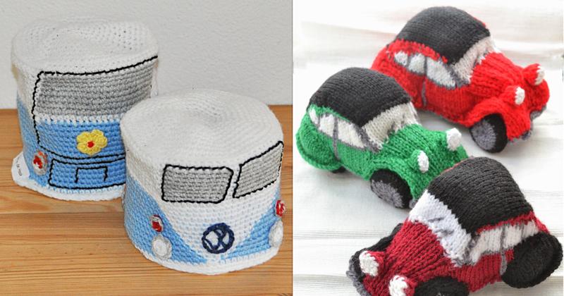 Knit vintage car, crocheted VW camper toilet paper cover