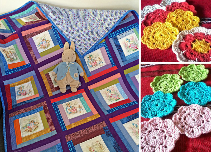 Peter Rabbit Log Cabing quilt,maybelle crocheted flowers