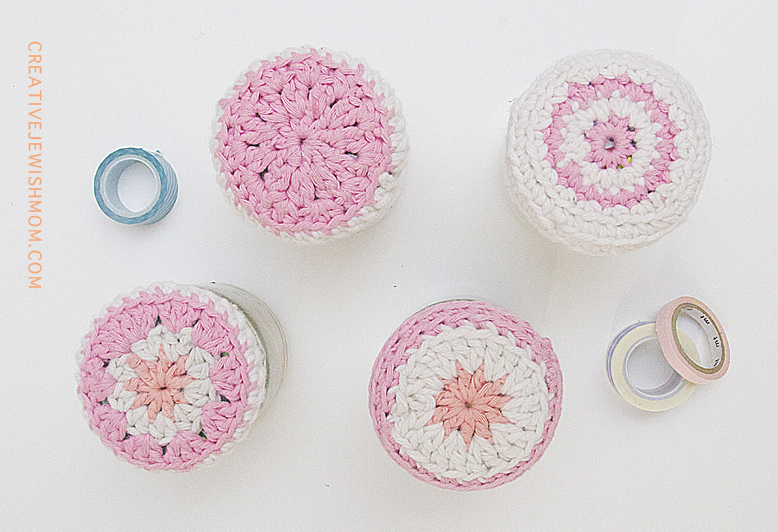 Crocheted jar toppers top view