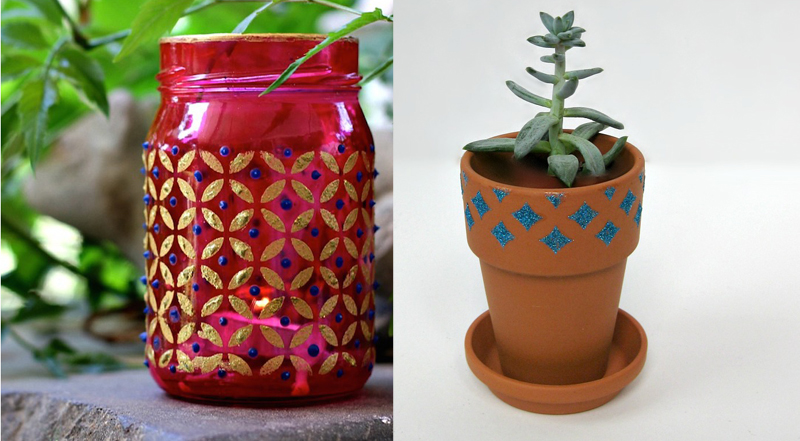 Stenciled jar,stenciled terra cotta pot