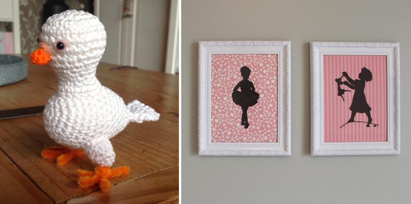 Pigeon amigurumi,silhouette nursery art