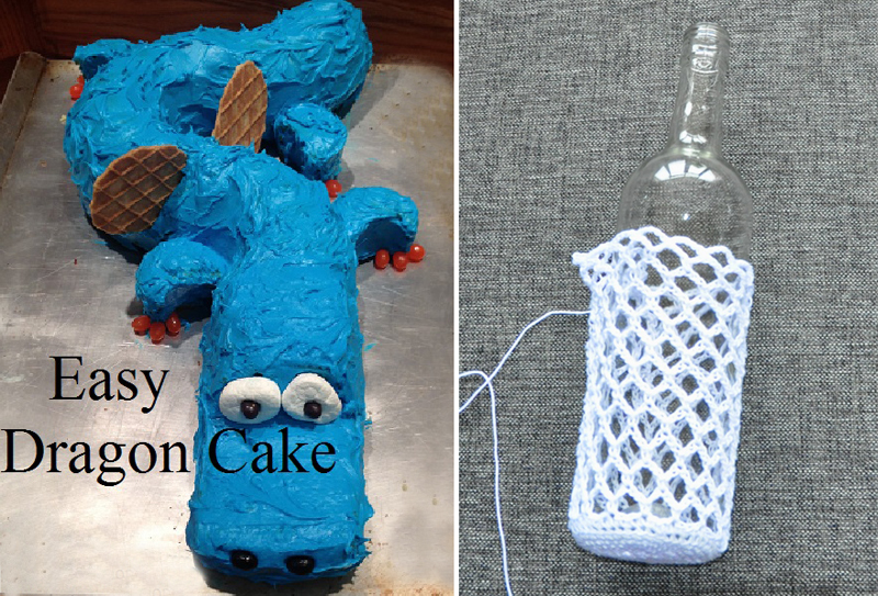 Easy dragon birthday cake,crochet a wine bottle cover