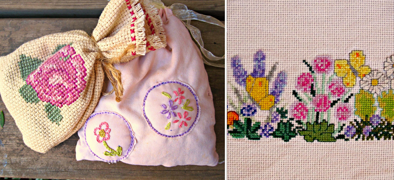 Lavender pouches with embroidery,flower cross stitch