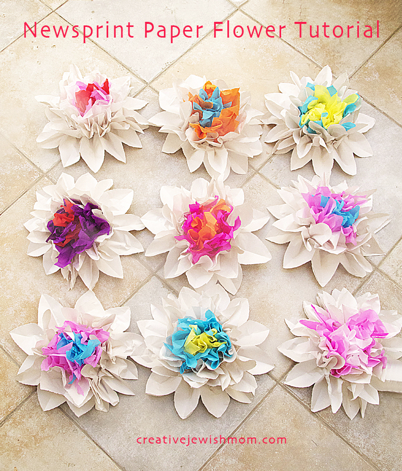 Newsprint paper flowers tutorial