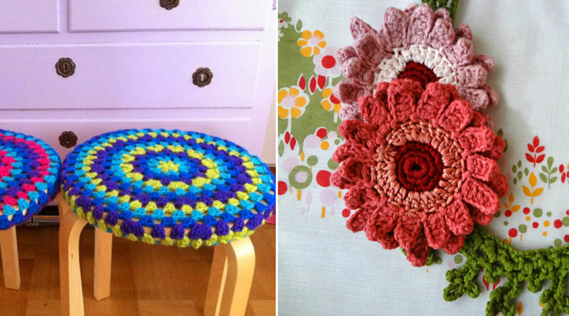 Crocheted stool cover,gerbera daisy crocheted necklace