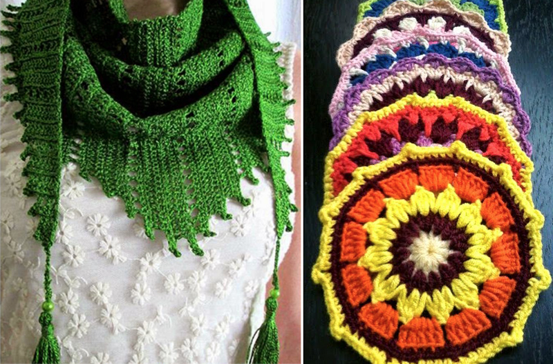 Triangular crocheted scarf, crocheted mandala
