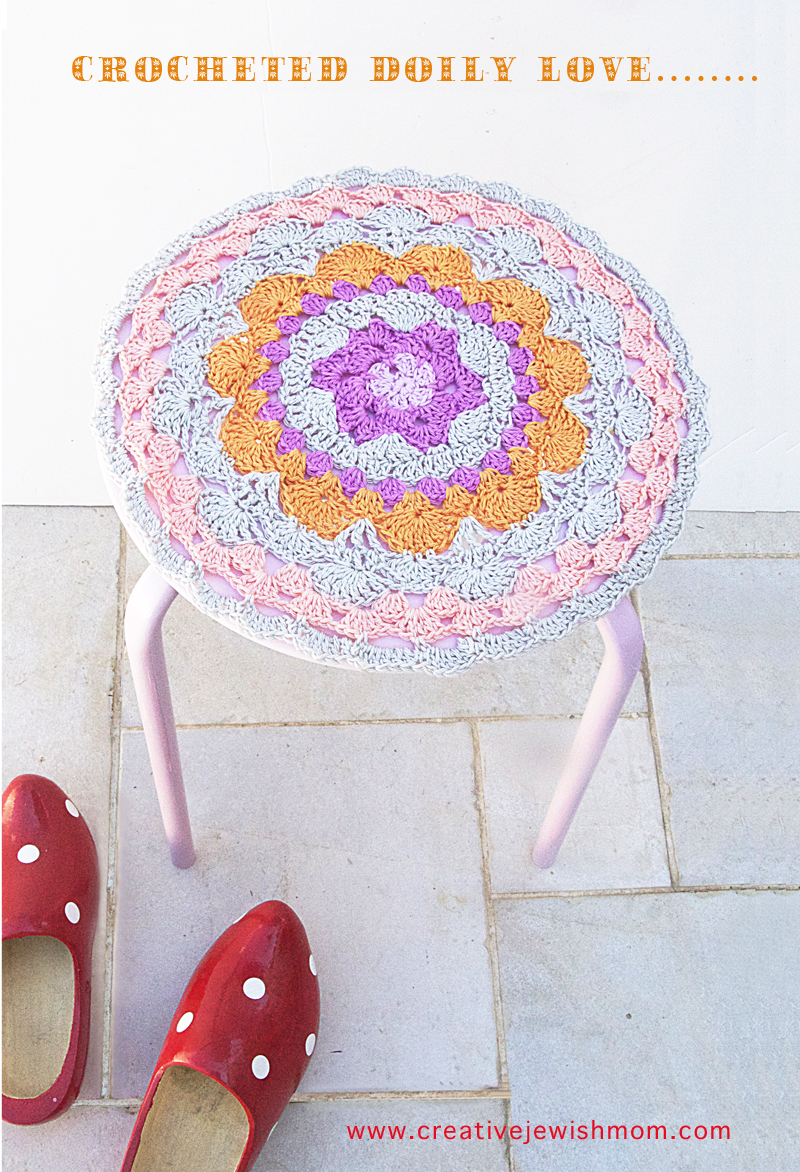 Crocheted modern doily