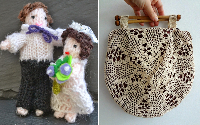 Knit bride and groom,handbag made from doily