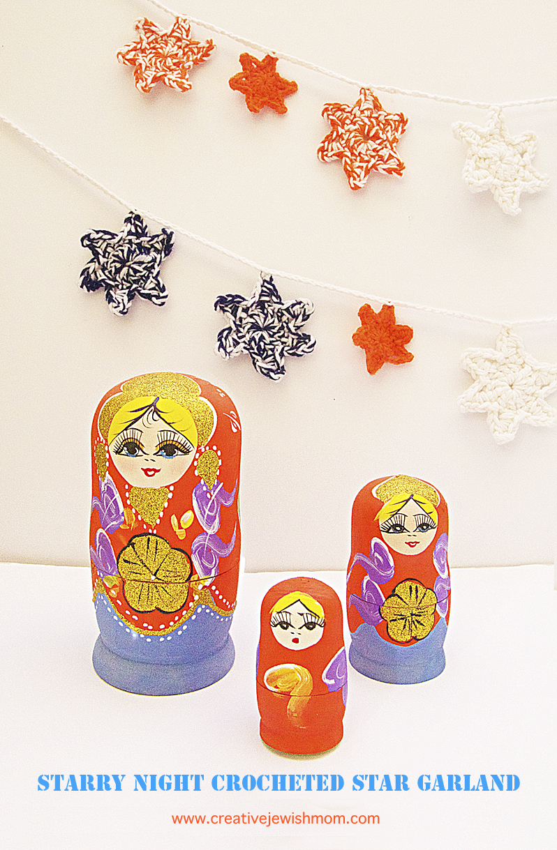 Starry Night crocheted Star garland with matroyshka dolls