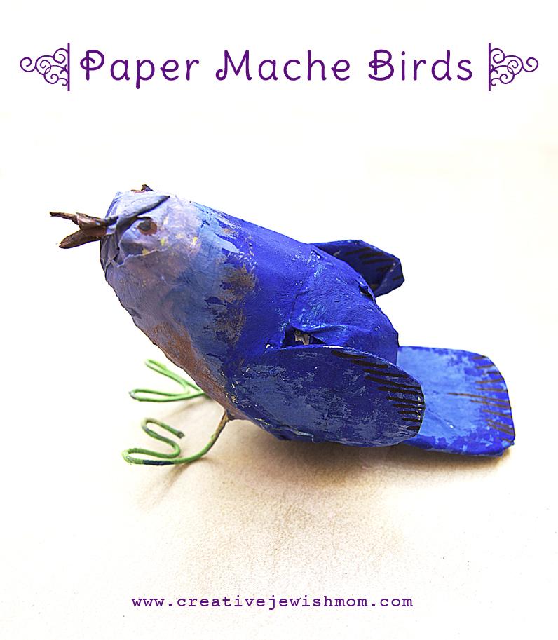 Paper Mache Blue Bird kid's craft