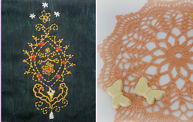 Indian embroidery,lacy crocheted doily