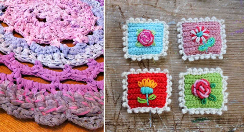 Crocheted postage stamps,rug made from upcycled clothing