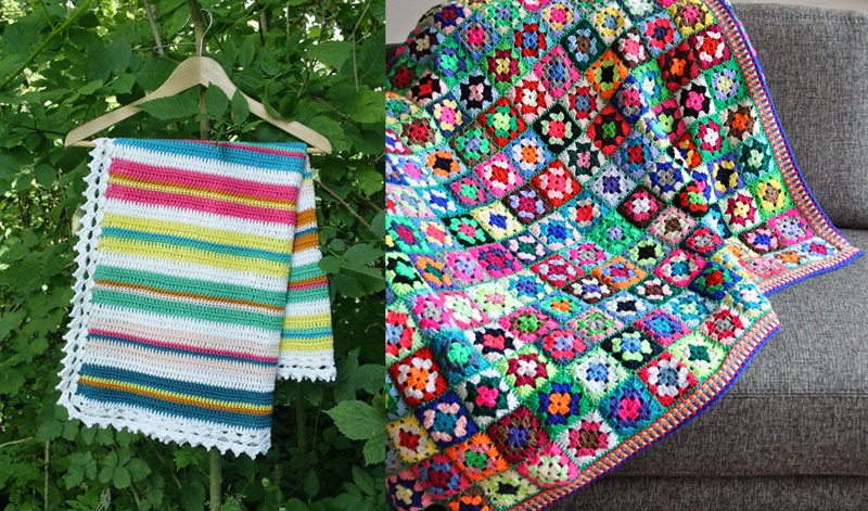 Tiny crochet granny squares blanket, easy striped crocheted baby blanket