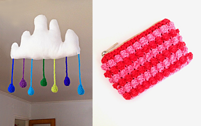 Crocheted cloud mobile,granny crocheted wallet