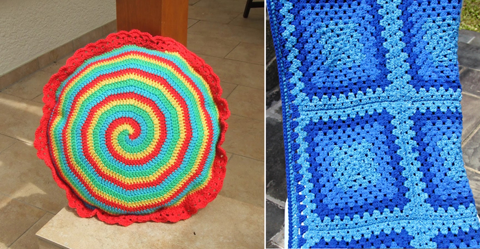 Crochet spiral round pillow,giant granny square blanket