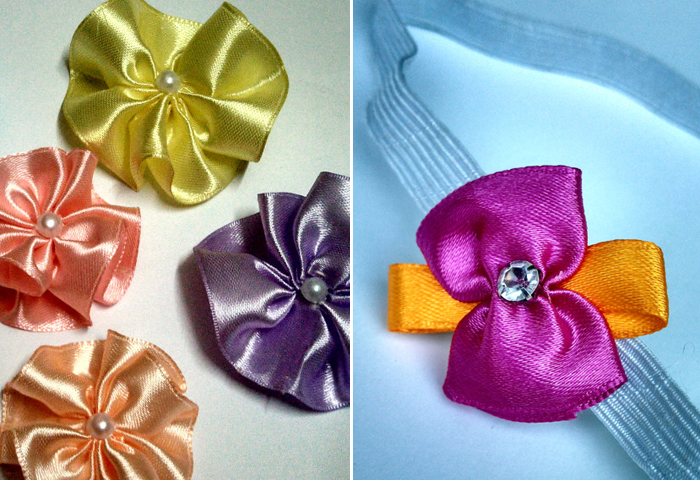 DIY ribbon flowers for headbands,ribbon head band