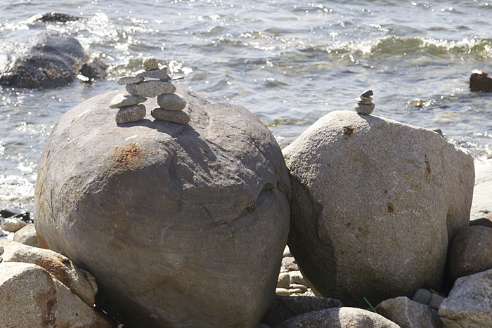 Inukshuk At Beach In Vancouver's West End