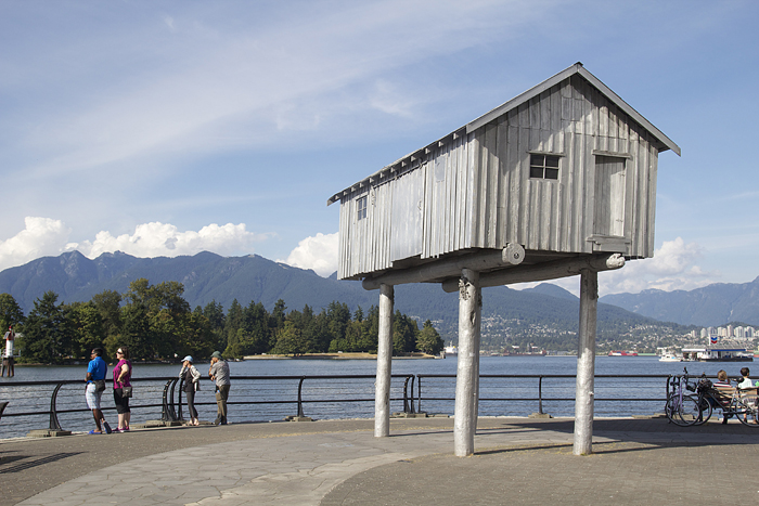 Vancouver Public sculpture,house on stilts