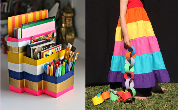 Duck tape desk organizer,rainbow skirt tutorial