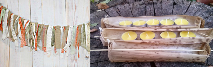 Rustic fall rag banner,bamboo husk votive holders