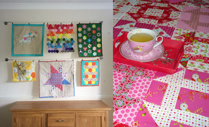 Doll quilt gallery wall,pink patterned quilt