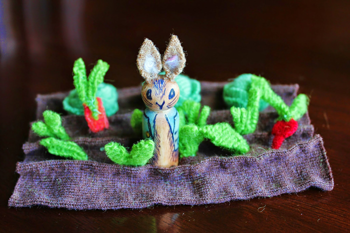 Rabbit in the garden peg doll project